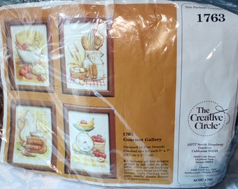 Vintage The Creative Circle 1763 Gourmet Gallery Stitching Four Frame Kit