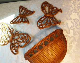 Vintage Homco Set of 3 Butterfly And Basket Wall Hangings