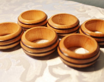 Napkin Rings Wood Two Toned Set of 6