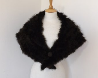 Vintage 50s brown real marabou feather evening stole cape wrap