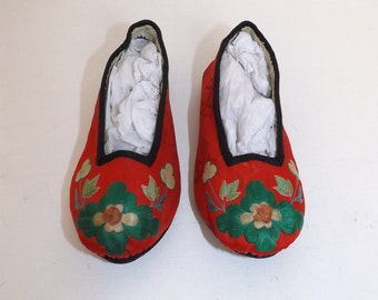 Vintage Chinese oriental hand embroidered silk childs shoes red