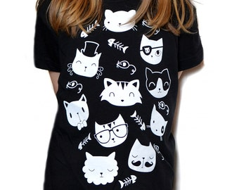 Kids Cat T-shirt - Kids Tops - Girls T Shirt - Cute Animal Tshirt - Childrens Cat T-Shirt - Childrens T Shirt - Black
