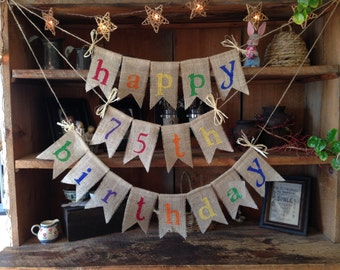 Burlap Happy Birthday Bunting, Birthday Bunting, Birthday Garland, Birthday Garland, Birthday Banner, Festive Bunting, Colorful Bunting