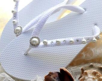 Bridal shower gift, Pearl flip flops, Rhinestone flip flops for Weddings, bridal flip flops, wedding flip flops, white bridal sandals