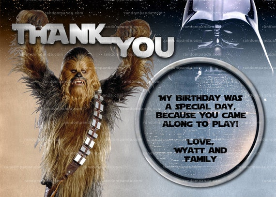 Star Wars Thank you Card Chewbacca Party Star Wars Birthday – Chewbacca Birthday Card