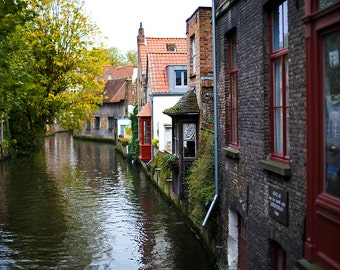 Bruges Canal Photograph - Gallery Wrapped Fine Art Canvas Print - Multiple Sizes