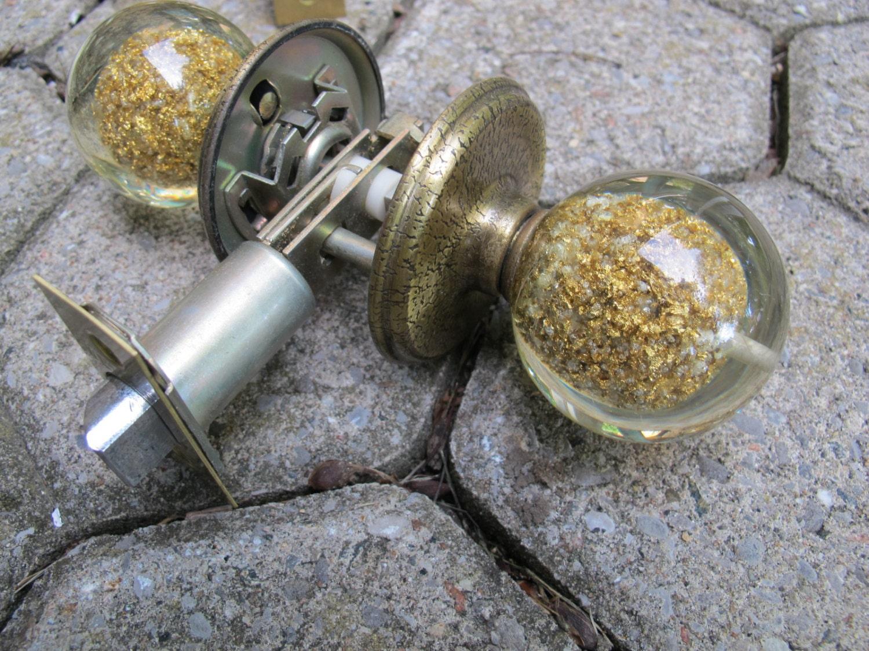 SALE 1960 s Weiser Bathroom Door Knob Set Acrylic Balls