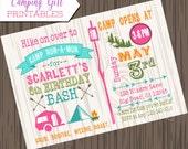 Girl Camping Birthday Invitation, DIY, Printable camp birthday invite, Camping invitation, girl camping invite