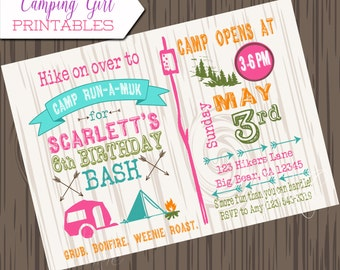 Girl Camping Birthday Invitation, DIY, Printable camp birthday invite, Camping invitation, girl camping invite