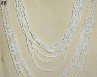 2 Vintage Milk Glass Necklaces