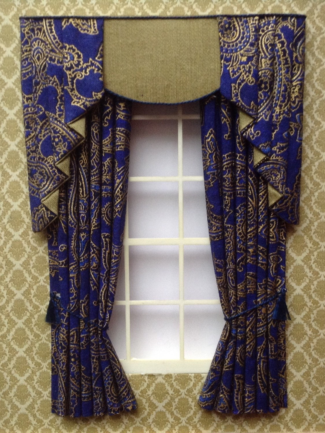 navy gold curtains