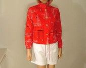 Red Canvas Nautical Print Jacket with White and Black Line Drawings of Sailboats