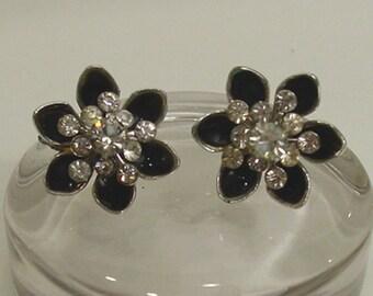 Coro Black Enamel and Rhinestone Flower Earrings