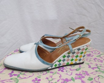Size 7 N 1960s Mod Checkerboard Wedge Heels + Leather Woven Lattice+ by Rofina Ferragamo Schiavone 60s 70s
