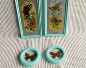 Butterflies Art Framed Collection Pretty Cottage Chic  4 Piece