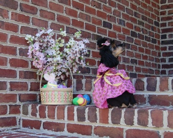 Pink Dog Dress, Dog Birthday Dress, Easter Dog Dress, Pet Summer Dress, Pet Clothing, Pet Apparel, Pet Dress, Dog Dress, Dog Clothing