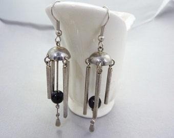 Vintage Silver Long Drop Dangle Earrings