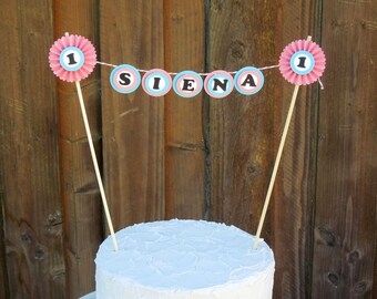 Mini Cake Banner / Bunting Centerpiece Personalized for Birthday Cake Round with Rosettes