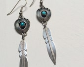 Vintage 1970s Indian Jewelry Earrings Sterling Silver Bear Claw Shadow Box with Genuine Turquoise and Single Feather Drop Southwest Earrings