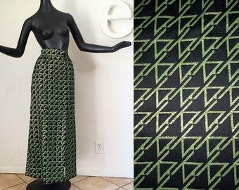 "Vintage 60s Leonard Arkin Designer Space Age Futuristic MOD Maxi Skirt Geometric Op Art Woven Pattern Black w Green Lurex Glitter 28"" waist"