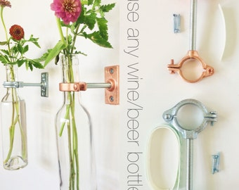 HARDWARE ONLY - 2 Wine Bottle Wall Flower Vase Kits - Mother's Day Gift - copper or silver hardware - Spring Decor -  -DIY - hostess gift