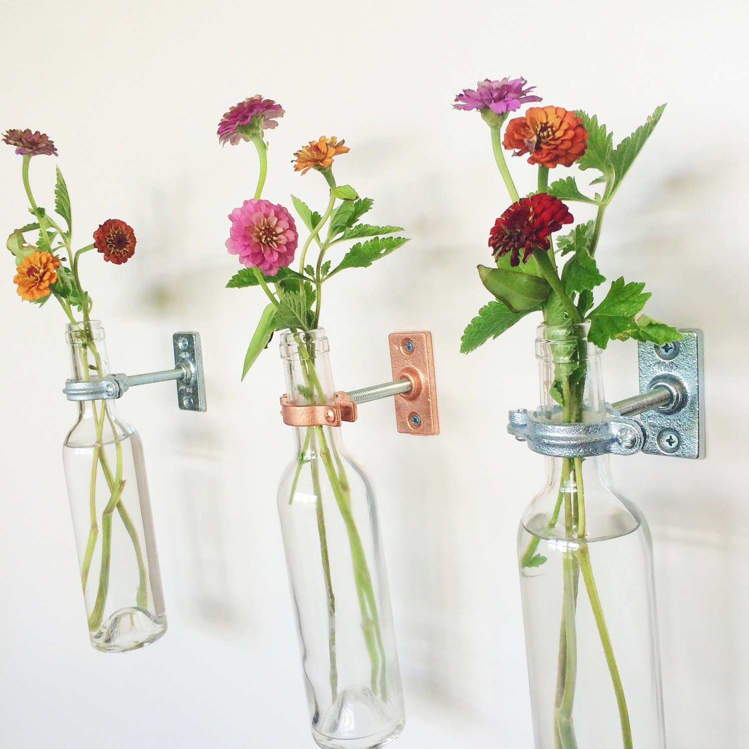 wine bottle wall flower vases copper or silver spring - 🔎zoom