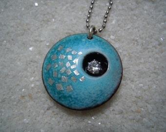 Blue Jewelry, Enamel Jewelry, Copper Enamel, Blue Necklace, Blue Pendant, silver color chain