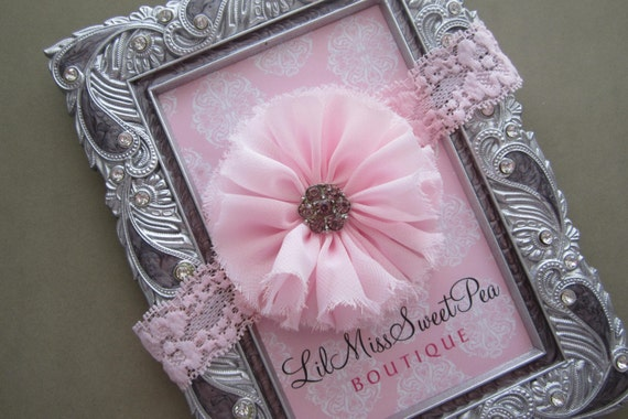 Newborn Pink Lace Headband with pink rhinestone center. Soft stretchy lace is perfect for baby