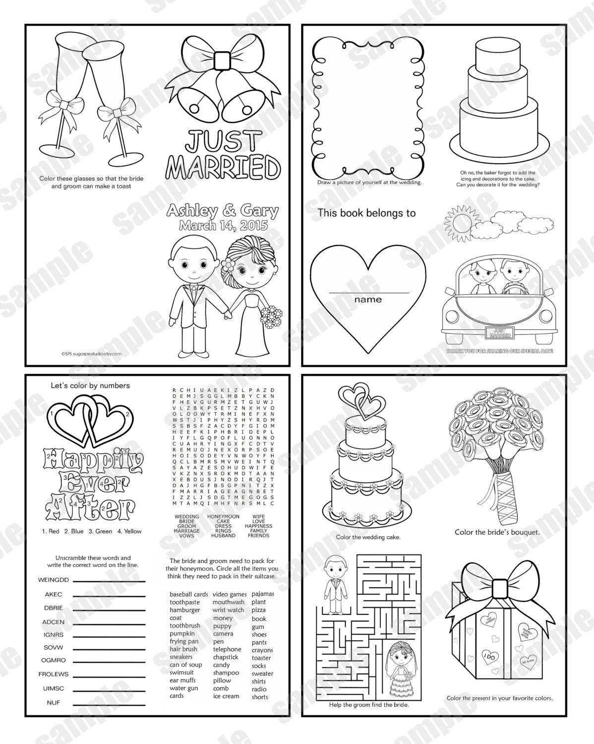 Wedding Coloring Pages Pdf : Mini printable personalized wedding coloring activity book