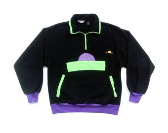 Rad 90s Neon Accented Sunsations Fleece Pullover - S / M