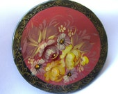 Vintage Russian Brooch Pin Hand Painted Artist Signed Floral on Black Lacquer