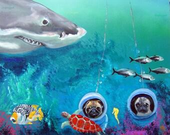 """Pug Art Print of an original oil painting/ """"Dun Dun, Dun Dun, Dun Dun Dun Dun...""""/ 8 x 10 / Dog art"""
