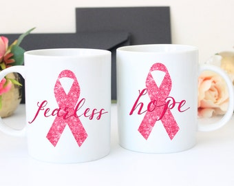 Breast Cancer Mug, Fearless Mug, Hope Mug, Cancer Mug, Awareness Mug, Custom Coffee Mug, Coffee Mug, Breast Cancer Coffee Mug