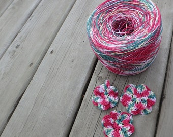 LAST AMOUNTS - Crochet Cotton - Size 10 - Hand Dyed - Christmas Candy - Sample Size - 10, 25 or 50 Yards