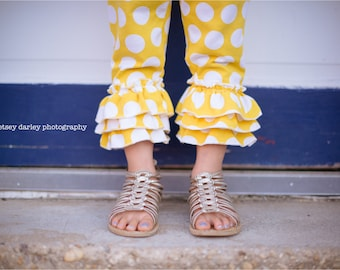 Clearance Ready to ship yellow dot triple ruffle capris