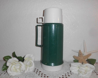 Vintage Green Thermos Dark Forest Cream White Coffee Hot Chocolate Soup RV Camping Retro Home Decor Handle Outdoor Hiking Gift For Him Her
