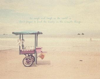 Sandy Beach, Beach Lover, Beach House Art, Beach House Wall Art, Seascape Art, Seascape Print, Beach Photo, Beach Art, Photo Quote, Pink Art