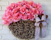 Burlap Floral Flower Pot of Roses Wreath
