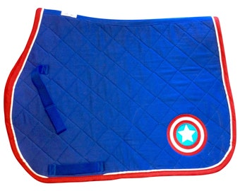 Ultimate Captain America Logo Embroidered Saddle Pad - 3 sizes