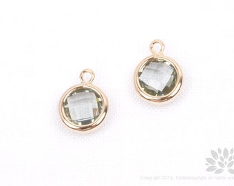 F127-02-G-CC// Gold Plated Charcoal Faceted Round Glass Pendant, 2 pcs