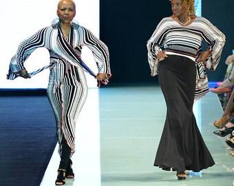 Black and White Striped 2 piece