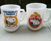 Anchor Hocking, FireKing, Snoopy for President, Milk Glass Mug, Cup Set of 2