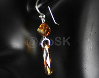 1 pair Sterling Silver with Swarovski Column Crystal Copper Earrings PE6