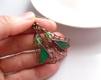 Wire earrings, contemporary jewelry, stained glass earrings, bohemian, green beaded earrings, gift for women, funky jewelry,
