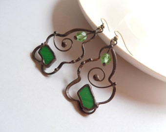 Stained glass earrings, statement jewelry, contemporary copper wire earrings, green stained glass, artistic jewelry, anniversary gift, green