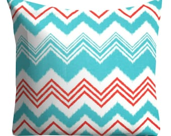 """Red blue Outdoor Pillows,Turquoise Outdoor Pillows,Patio Decor,20"""" x 20"""" Throw Pillows,Patio Pillows, Outside Chevron Pillows, Pillow Covers"""