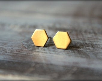 Hexagon Earring Studs in Raw Brass or Silver Plated Brass, 8mm x 9mm, Stainless Steel Posts, Geometric Jewelry, Hex Shape Earrings