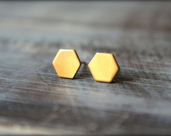 Hexagon Earring Studs in Raw Brass or Silver Plated Brass - 8mm x 9mm, Stainless Steel Posts