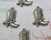 FOUR Cowboy Boots Charms, Brass Stamping, Brass Ox