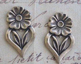 Flat brass daisies, oxidized brass, TWO